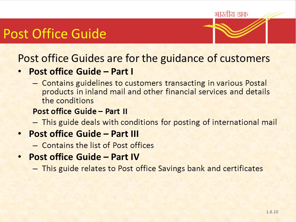 Post Office Guide Post office Guides are for the guidance of customers