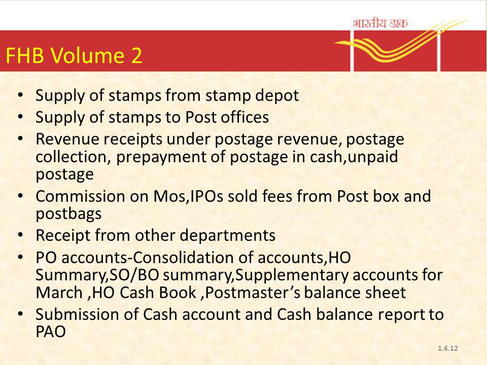 FHB Volume 2 Supply of stamps from stamp depot