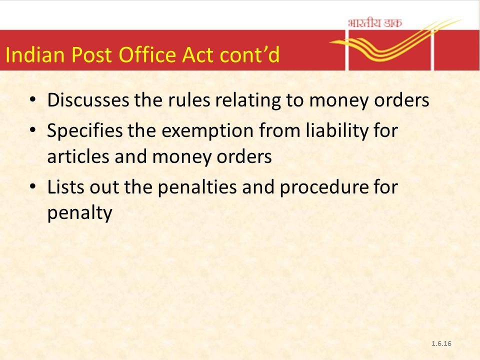 Indian Post Office Act cont'd
