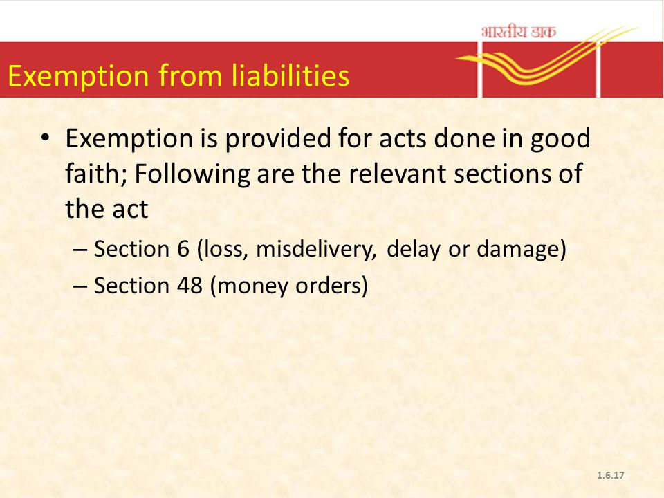 Exemption from liabilities