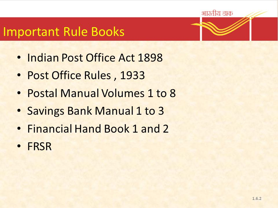 Important Rule Books Indian Post Office Act 1898
