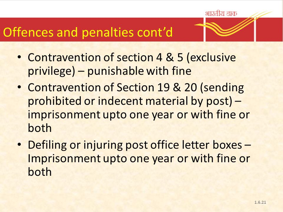 Offences and penalties cont'd