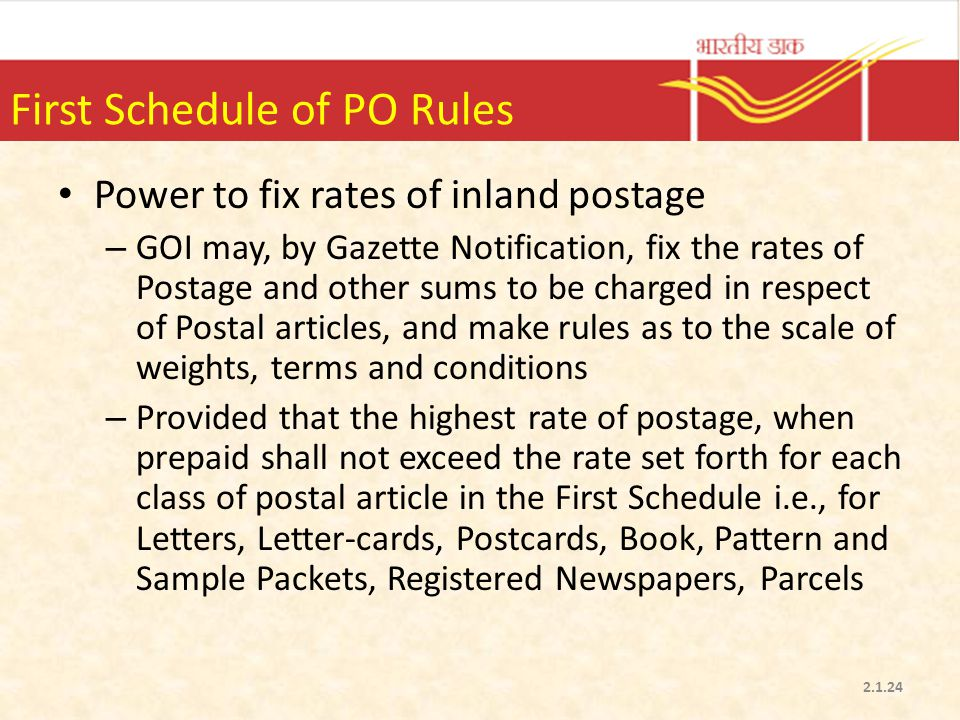 First Schedule of PO Rules
