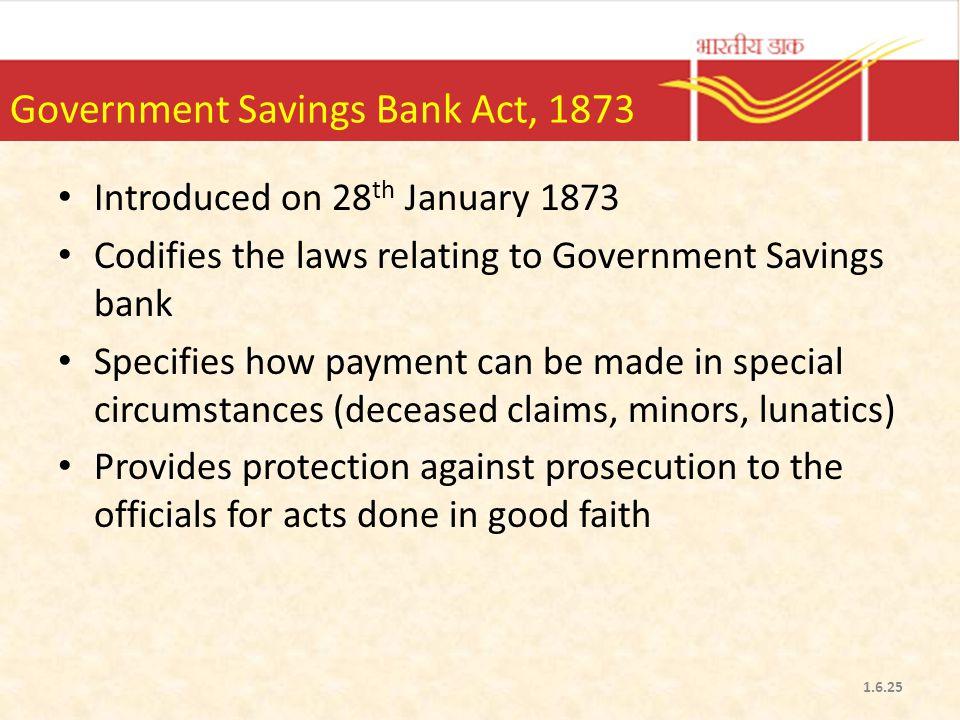 Government Savings Bank Act, 1873