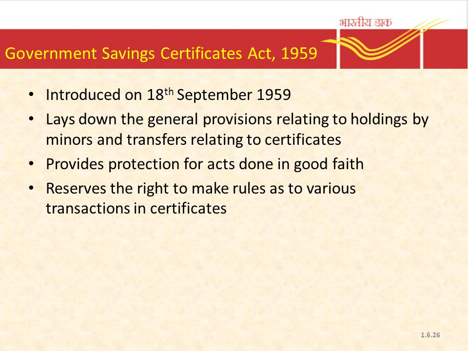 Government Savings Certificates Act, 1959