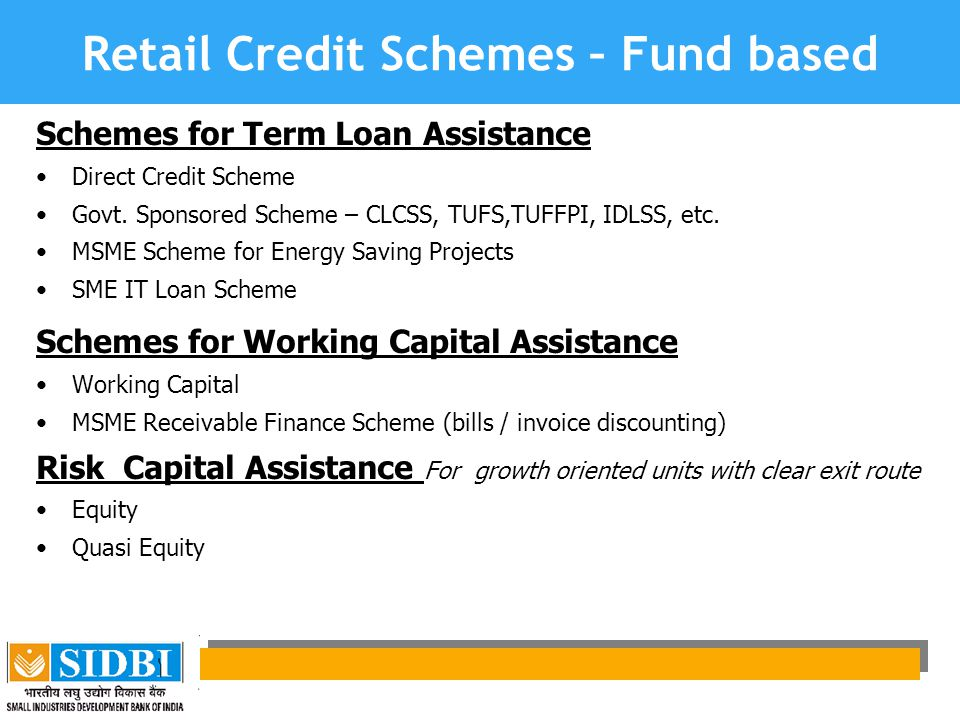 Retail Credit Schemes – Fund based
