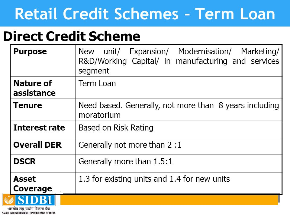 Retail Credit Schemes – Term Loan