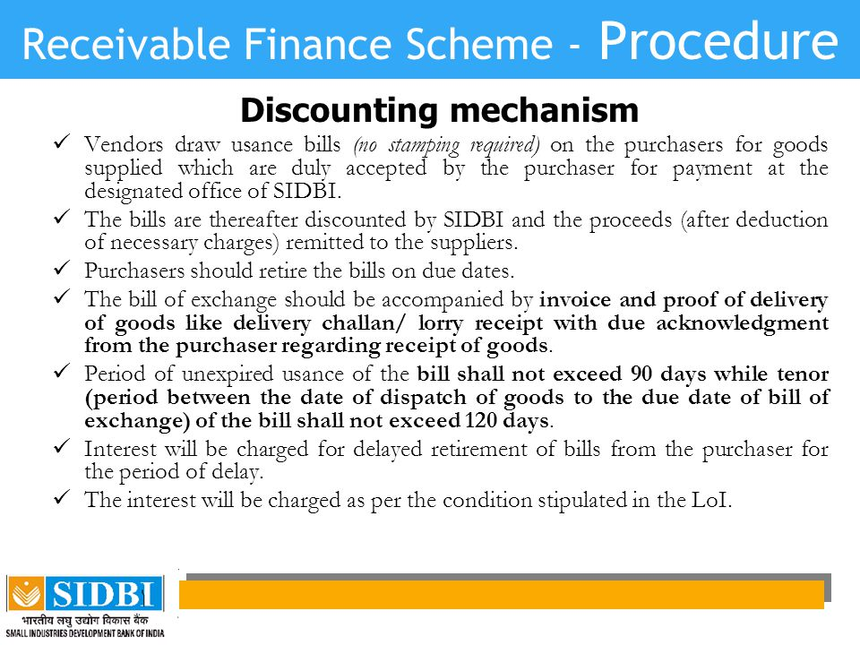 Receivable Finance Scheme - Procedure