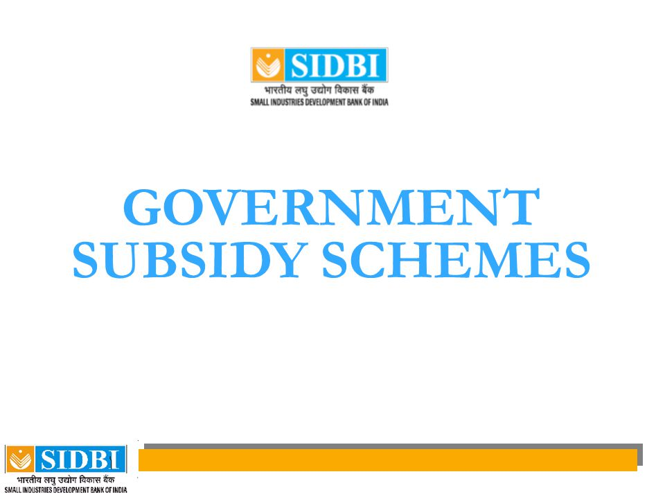 GOVERNMENT SUBSIDY SCHEMES