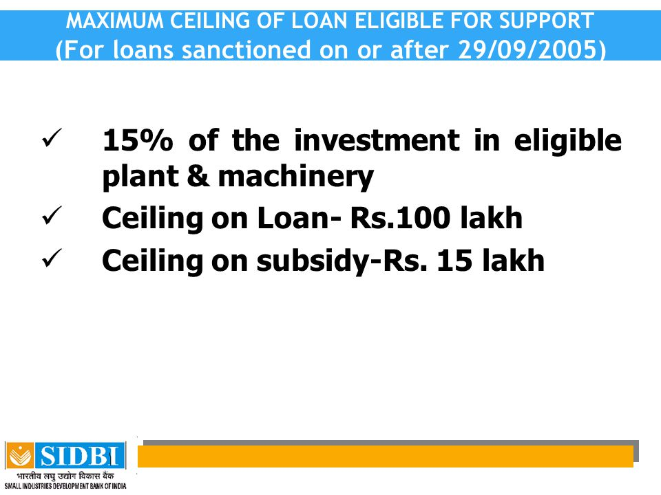 15% of the investment in eligible plant & machinery