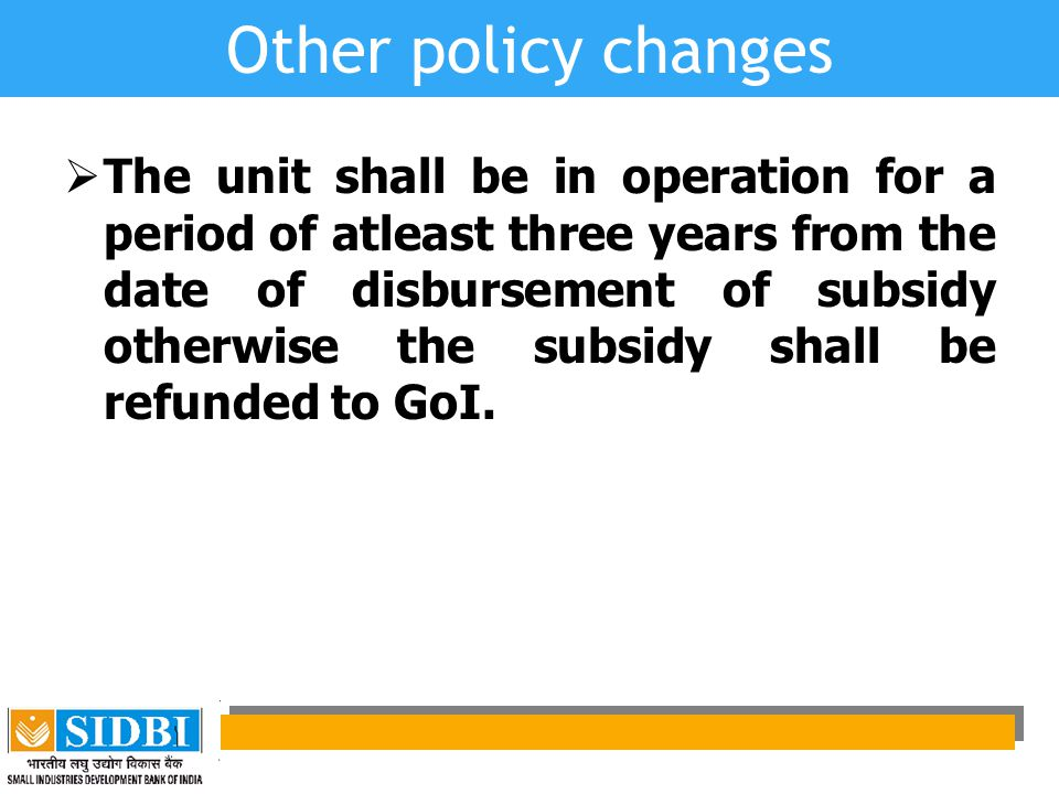 Other policy changes