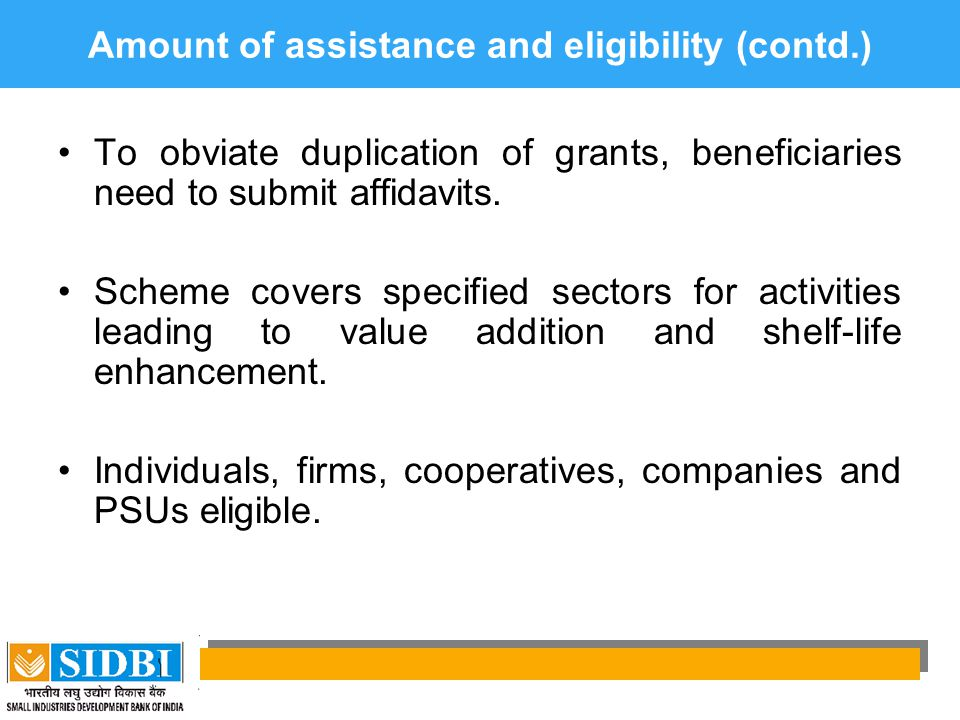 Amount of assistance and eligibility (contd.)