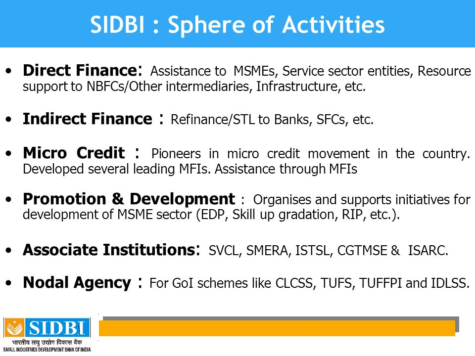SIDBI : Sphere of Activities