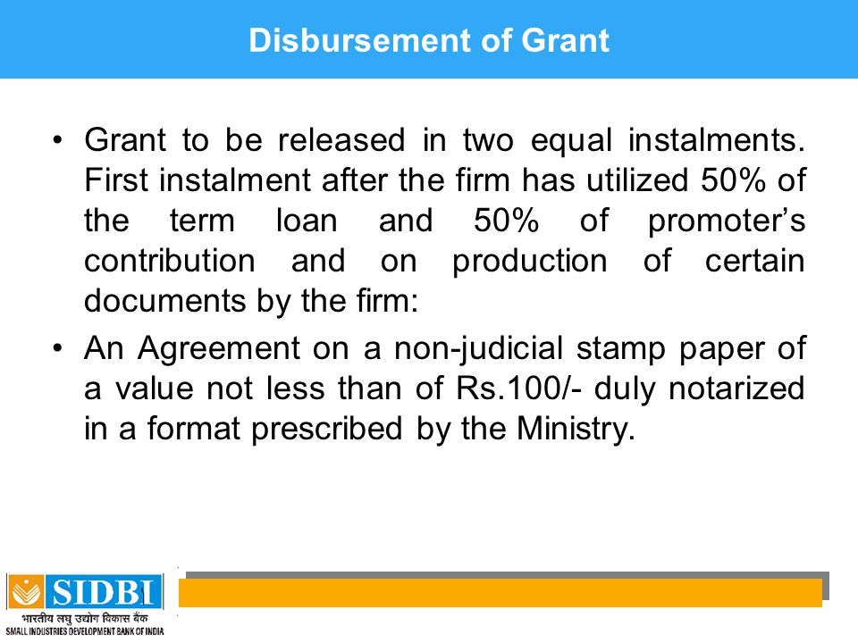 Disbursement of Grant