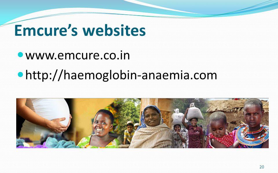 Emcure's websites www.emcure.co.in http://haemoglobin-anaemia.com