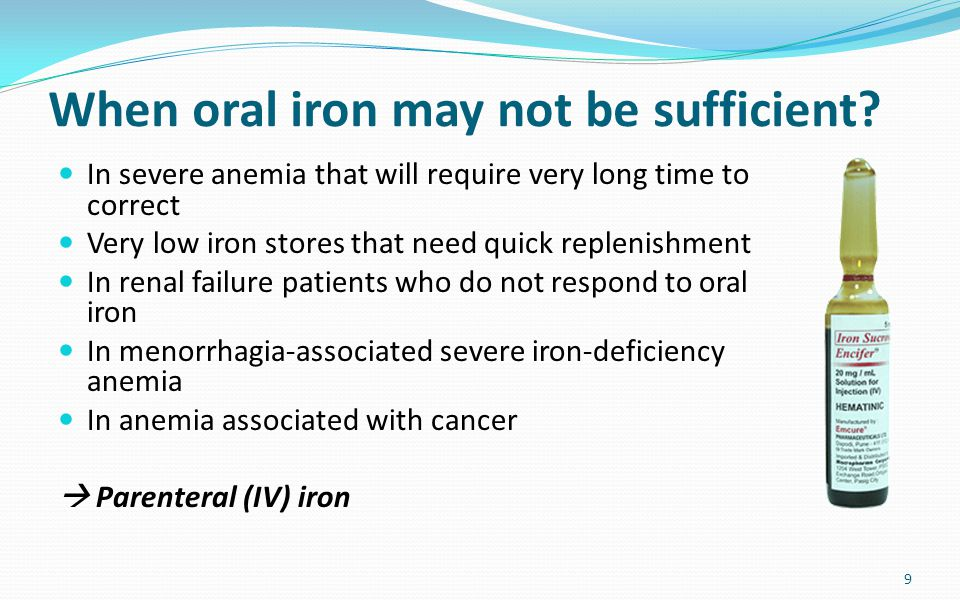 When oral iron may not be sufficient