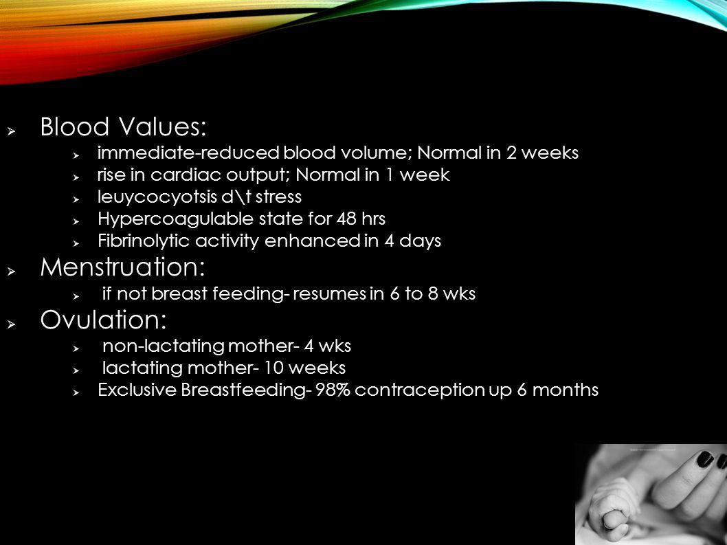 Blood Values: Menstruation: Ovulation: