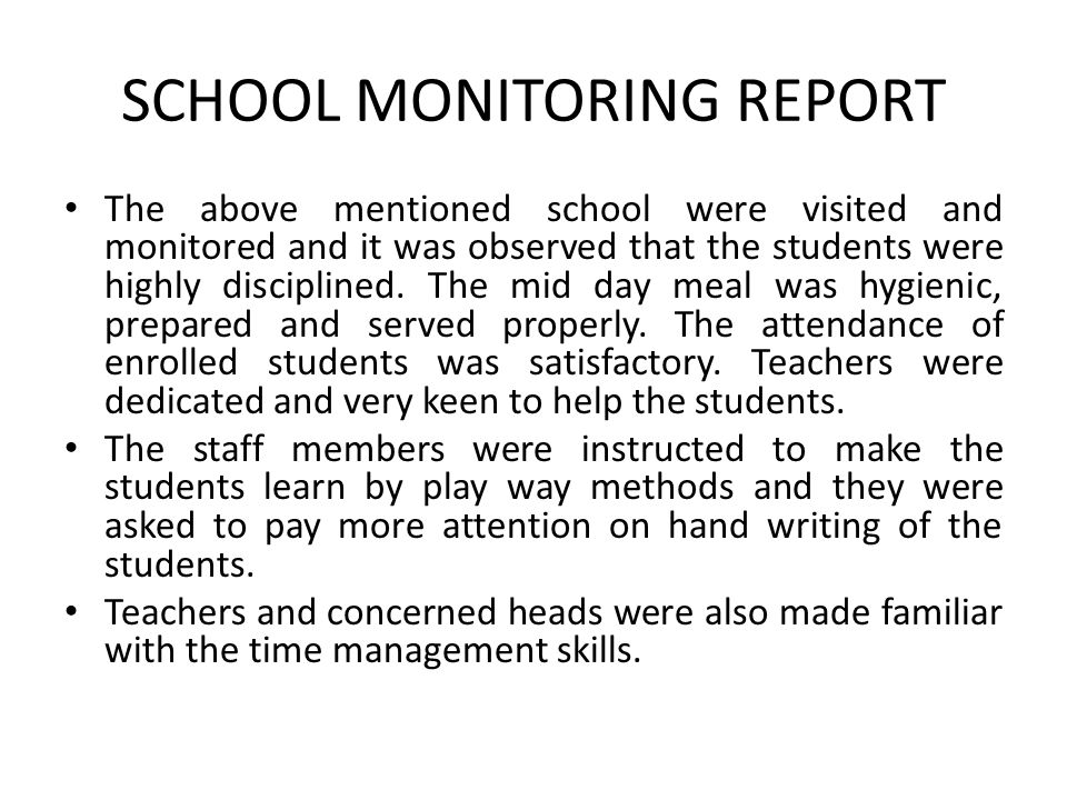 SCHOOL MONITORING REPORT