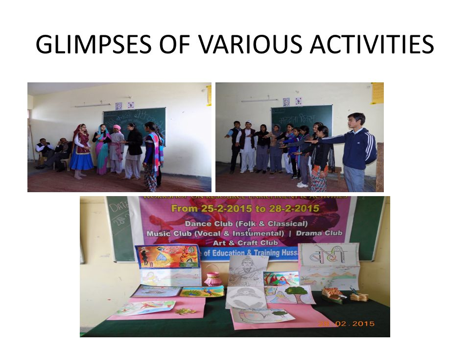 GLIMPSES OF VARIOUS ACTIVITIES