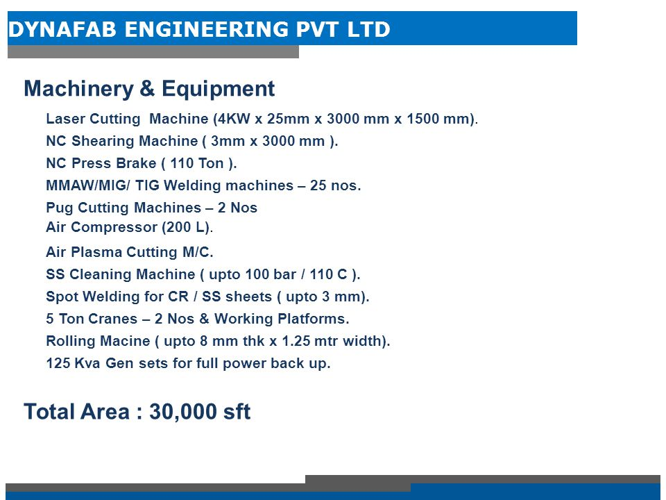 Machinery & Equipment Total Area : 30,000 sft