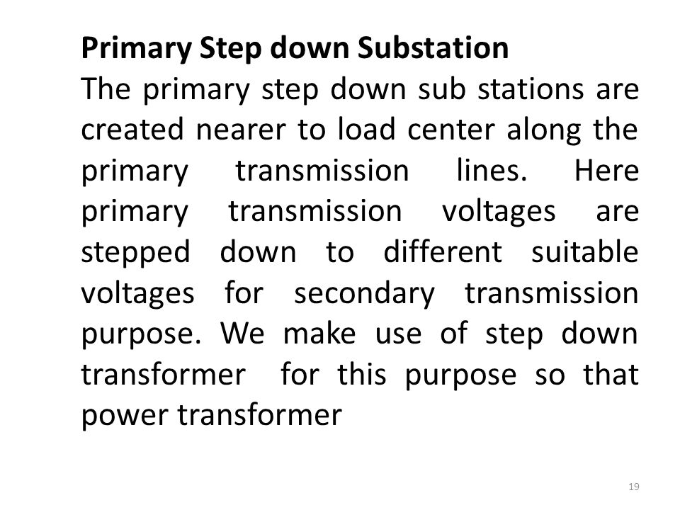 Primary Step down Substation