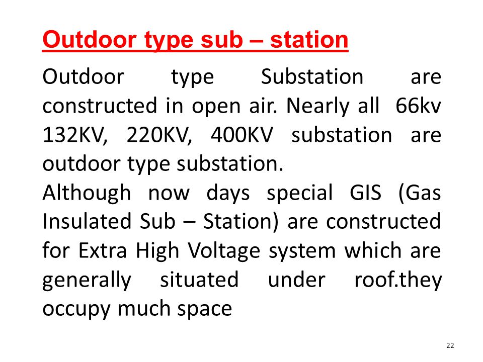 Outdoor type sub – station