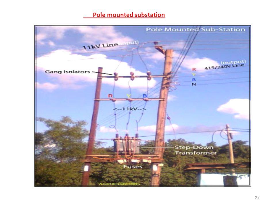 Pole mounted substation
