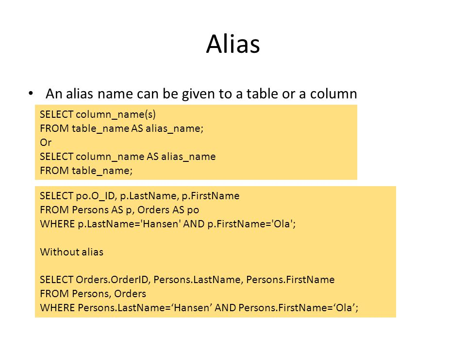 Alias An alias name can be given to a table or a column