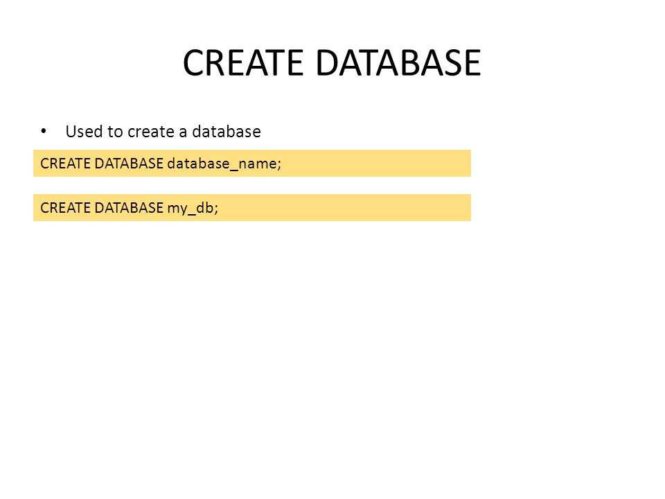 CREATE DATABASE Used to create a database