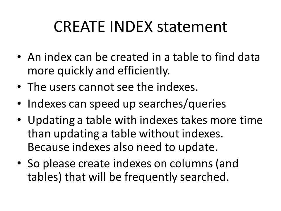 CREATE INDEX statement