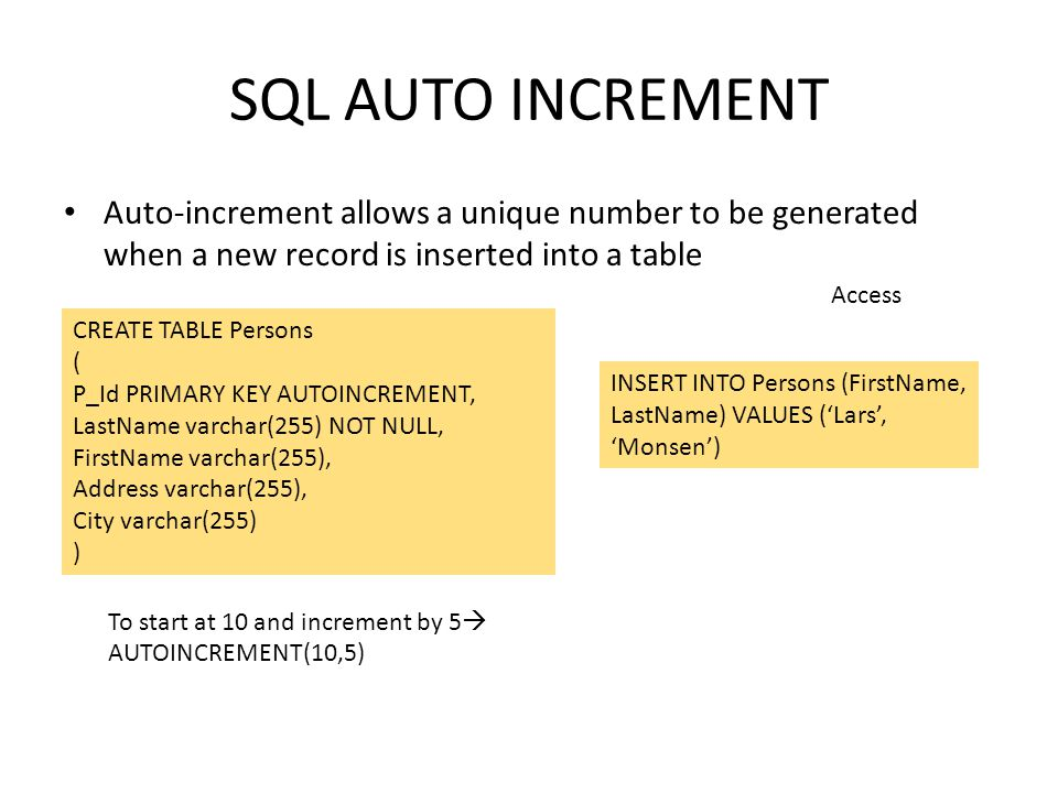 SQL AUTO INCREMENT Auto-increment allows a unique number to be generated when a new record is inserted into a table.