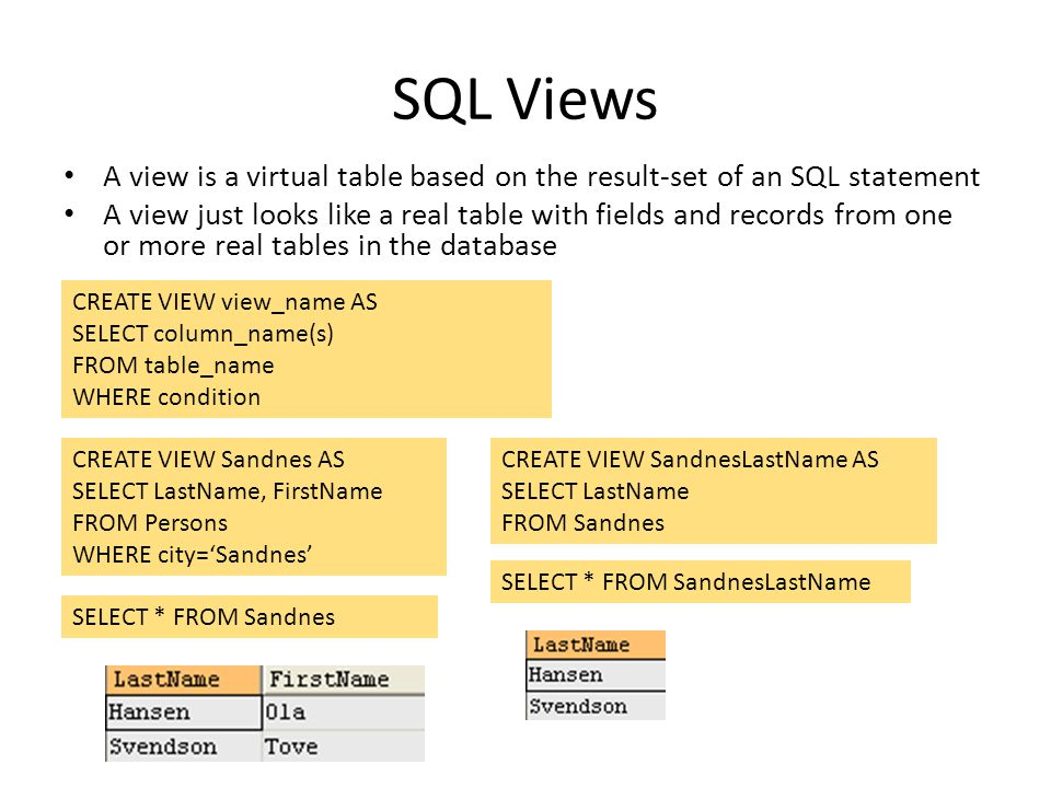 SQL Views A view is a virtual table based on the result-set of an SQL statement.