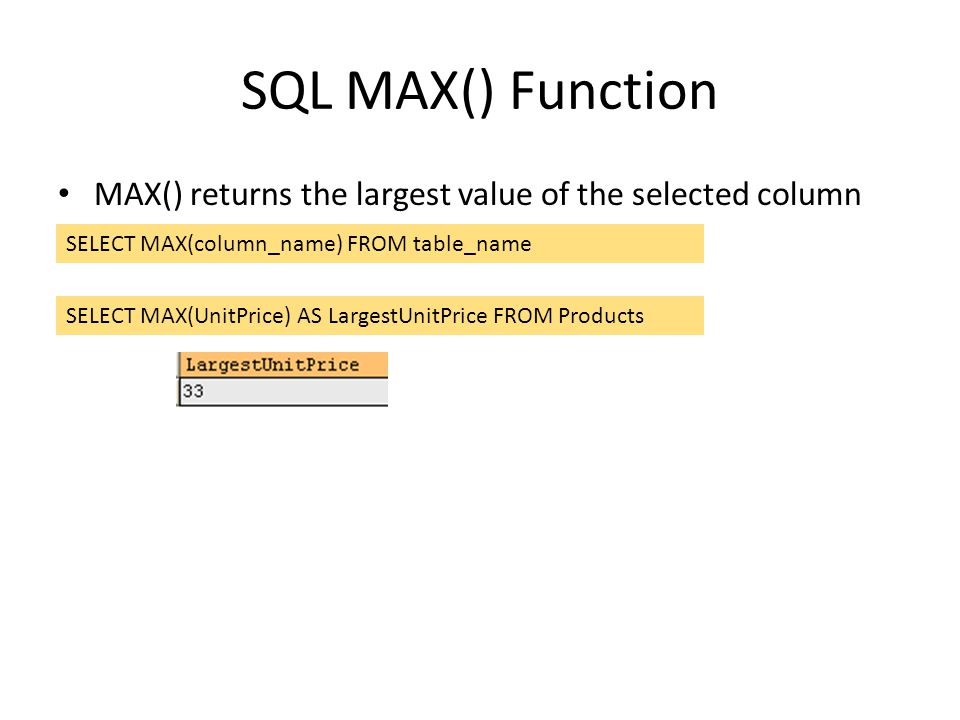 SQL MAX() Function MAX() returns the largest value of the selected column. SELECT MAX(column_name) FROM table_name.