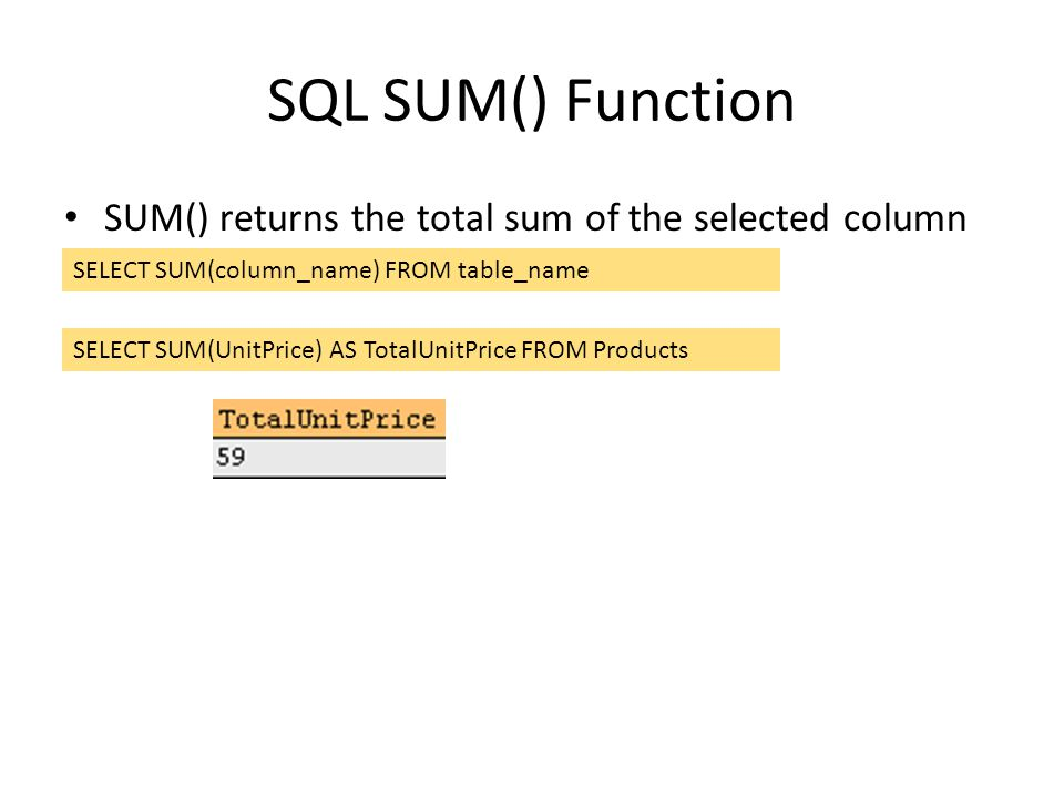 SQL SUM() Function SUM() returns the total sum of the selected column