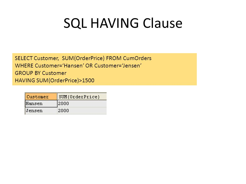 SQL HAVING Clause SELECT Customer, SUM(OrderPrice) FROM CumOrders