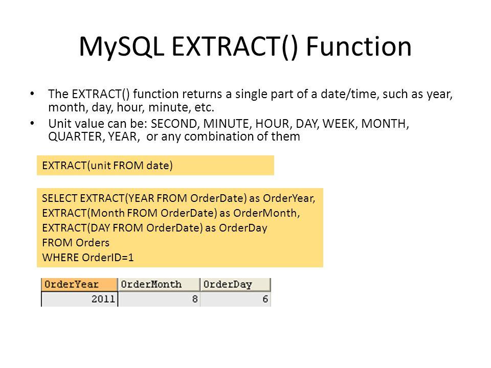 MySQL EXTRACT() Function