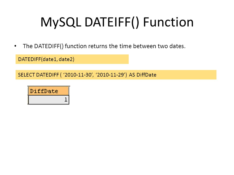 MySQL DATEIFF() Function