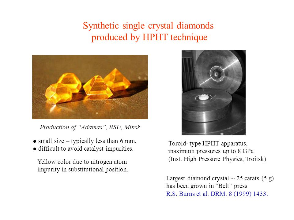 Synthetic single crystal diamonds produced by HPHT technique