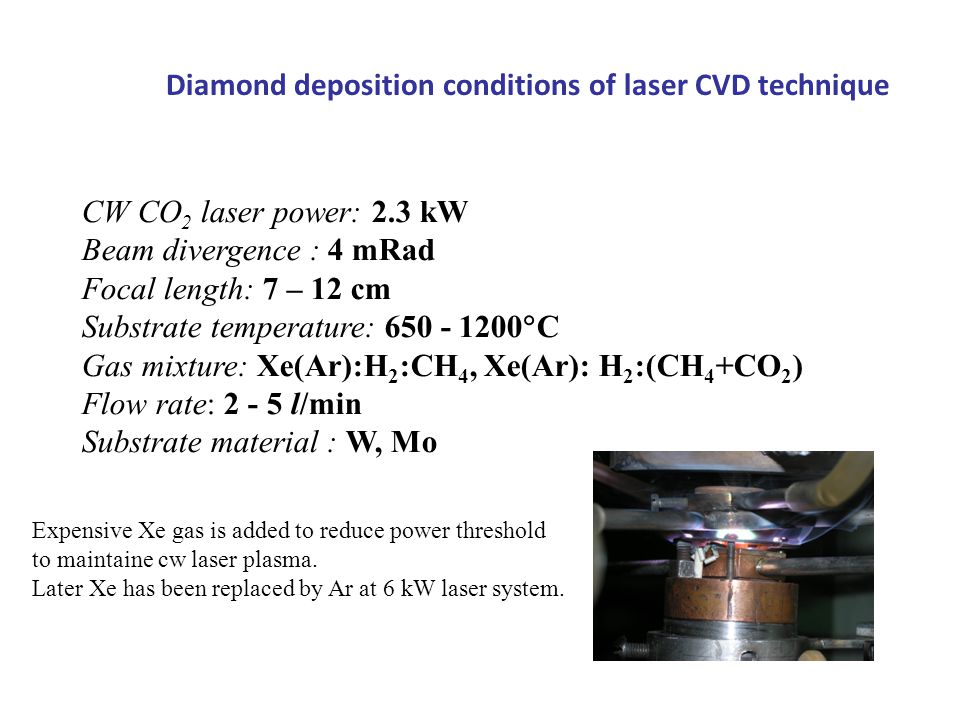 Diamond deposition conditions of laser CVD technique