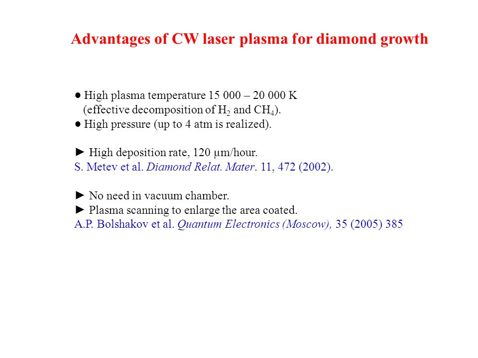 Advantages of CW laser plasma for diamond growth