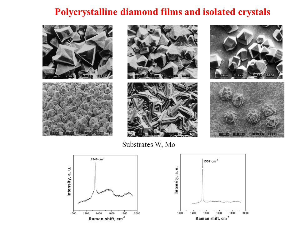Polycrystalline diamond films and isolated crystals