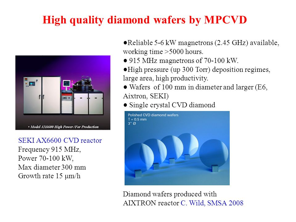 High quality diamond wafers by MPCVD