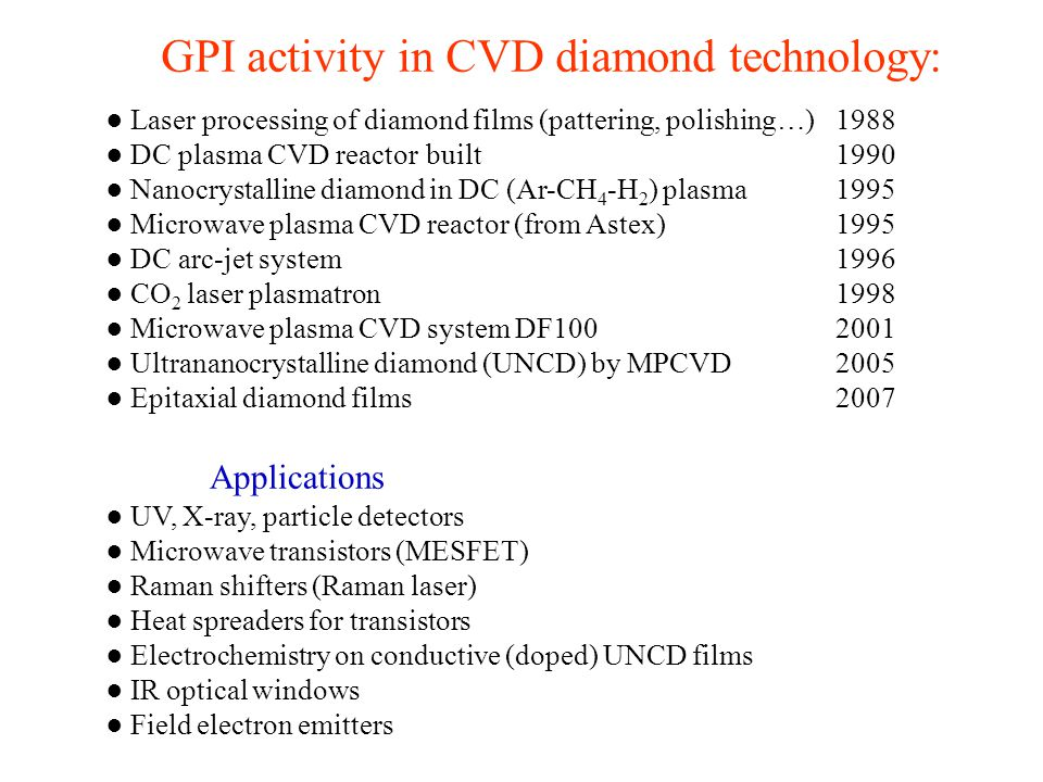 GPI activity in CVD diamond technology: