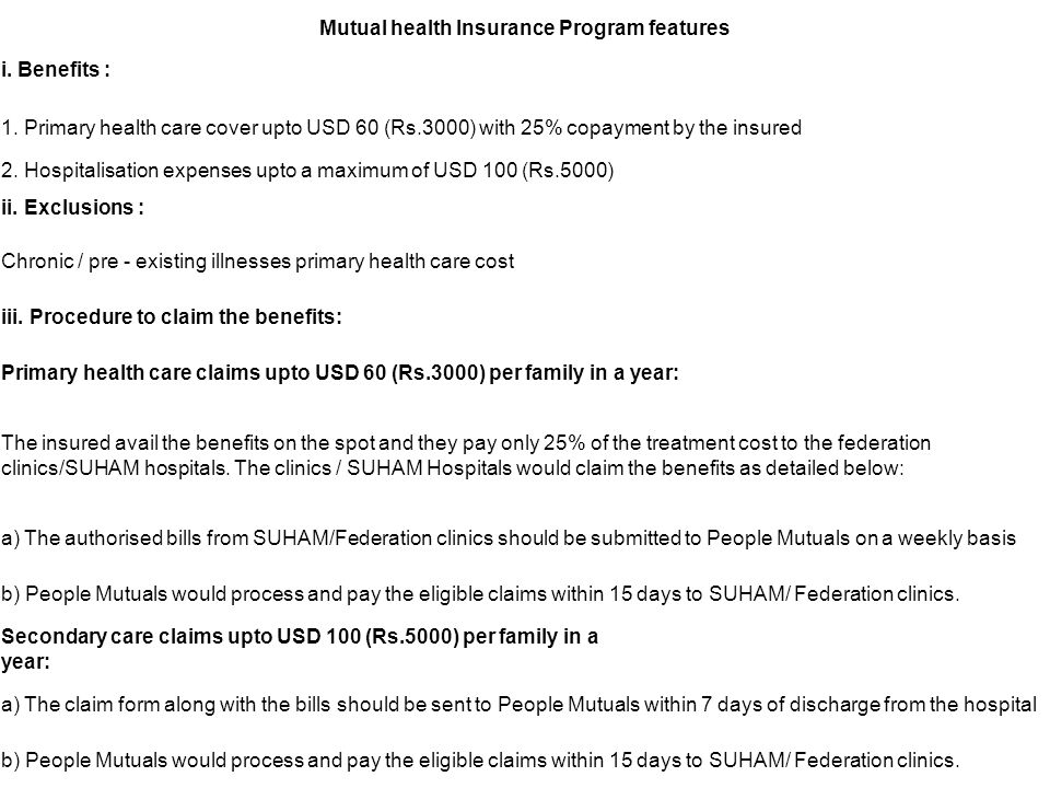 Mutual health Insurance Program features