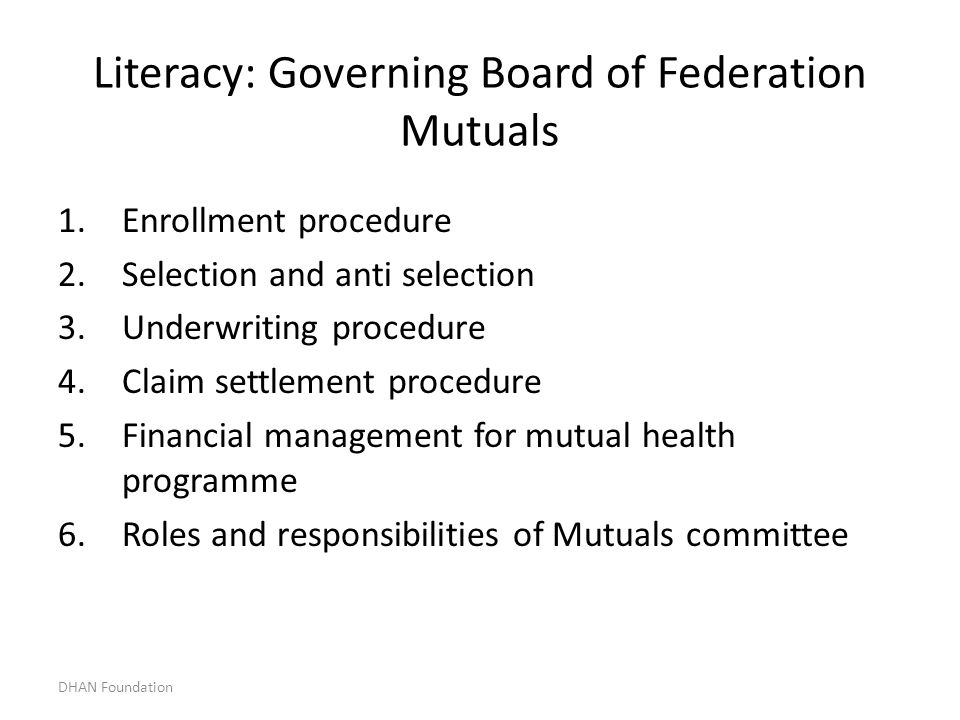Literacy: Governing Board of Federation Mutuals
