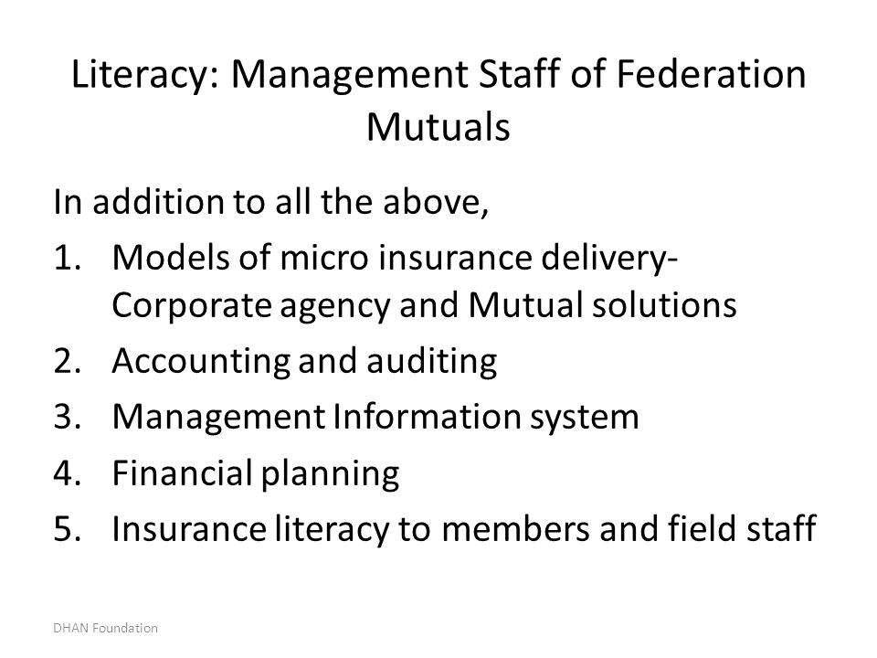 Literacy: Management Staff of Federation Mutuals