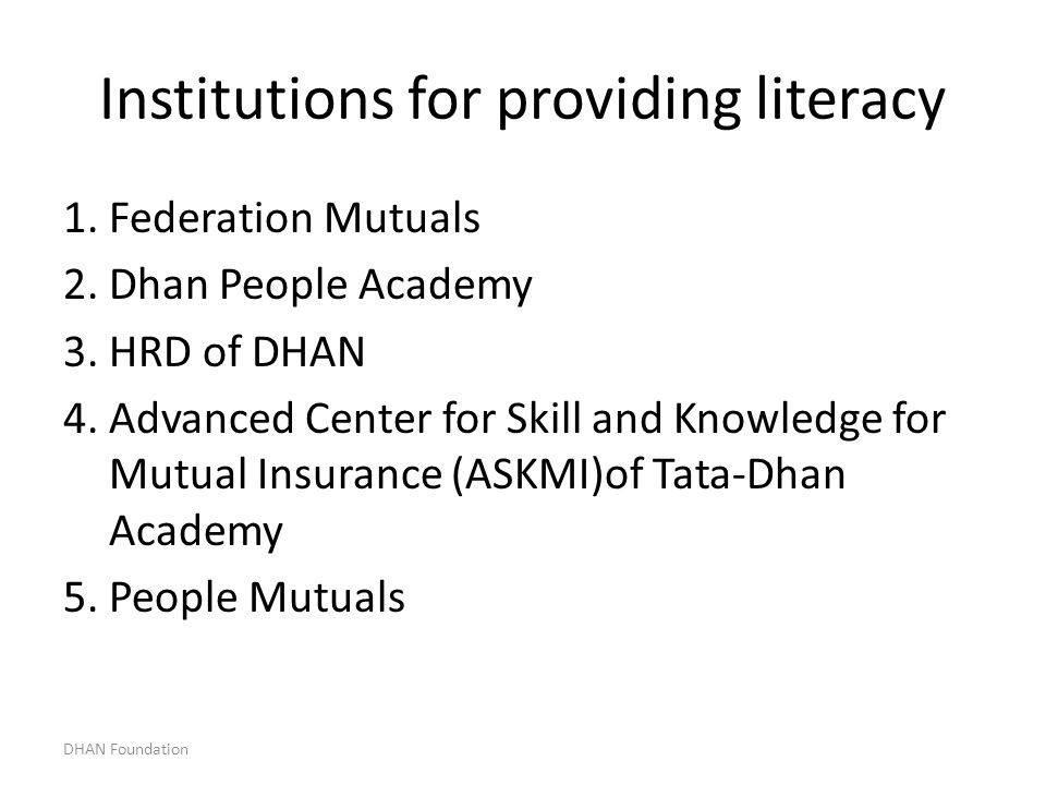 Institutions for providing literacy