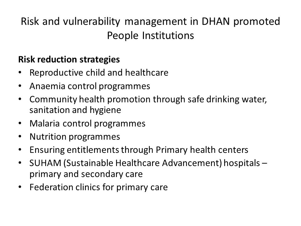 Risk and vulnerability management in DHAN promoted People Institutions