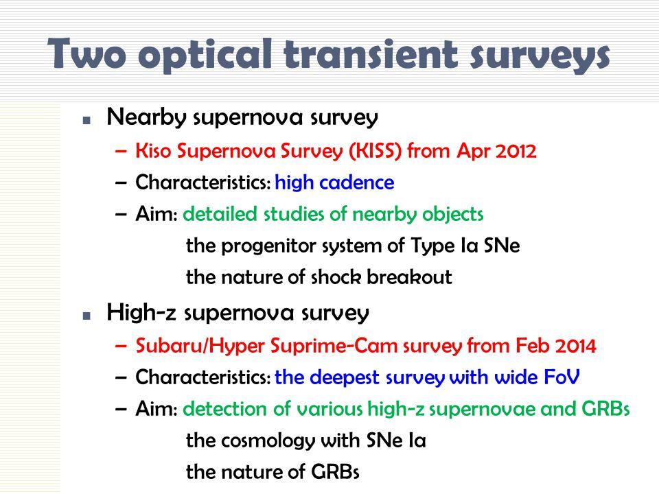 Two optical transient surveys