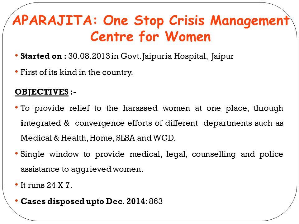APARAJITA: One Stop Crisis Management Centre for Women